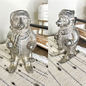 VTG Towle Silverplate Skiing Bear Candlestick